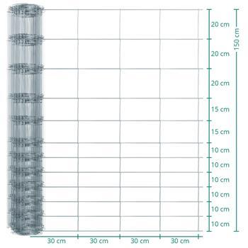 50m VOSS.farming Premium Stock /Game Fencing, Galvanised, Height 150cm, 12/150/30