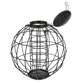 Fat Ball Feeder with Protective Grid, Metal, Black