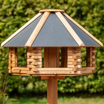 "VOSS.garden ""Tofta"" - Wooden Bird Table with Metal Roof (Stand Not Included)"