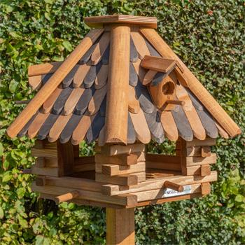 "VOSS.garden ""Lil""House"" - Wooden Bird Table with Stand"
