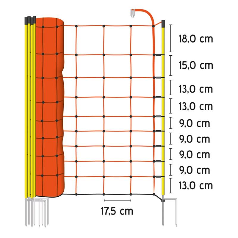 50m Voss Farming Electric Fence Netting 108cm 2 Spikes