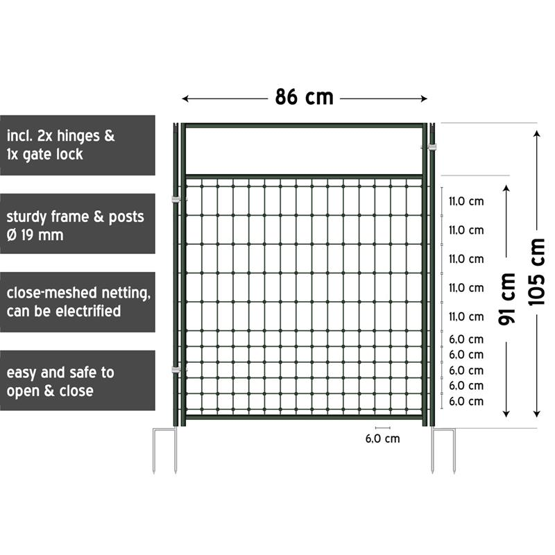 gate for electric fence netting  electrifiable  complete kit  105cm