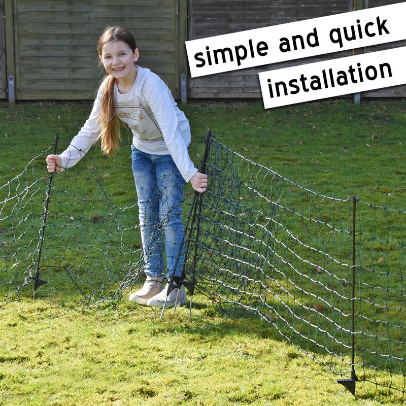 VOSS PET petNET+ 15m Dog Fence Netting, Puppy, Rabbit Fence Net, 65cm, 14  Posts, 1 Spike, Green