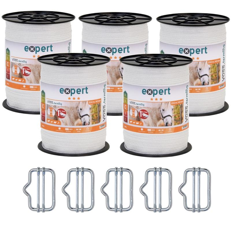 44150.5.uk-1-5x-voss.farming-electric-fence-tape-200-m-40-mm-9x016-stst-white-5-connectors-warning-s
