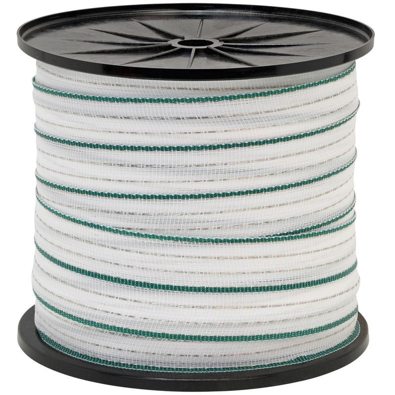 Electric Fence Tape 200m, 40mm, 4x0.3 Copper + 6x0.3 STST, White-Green